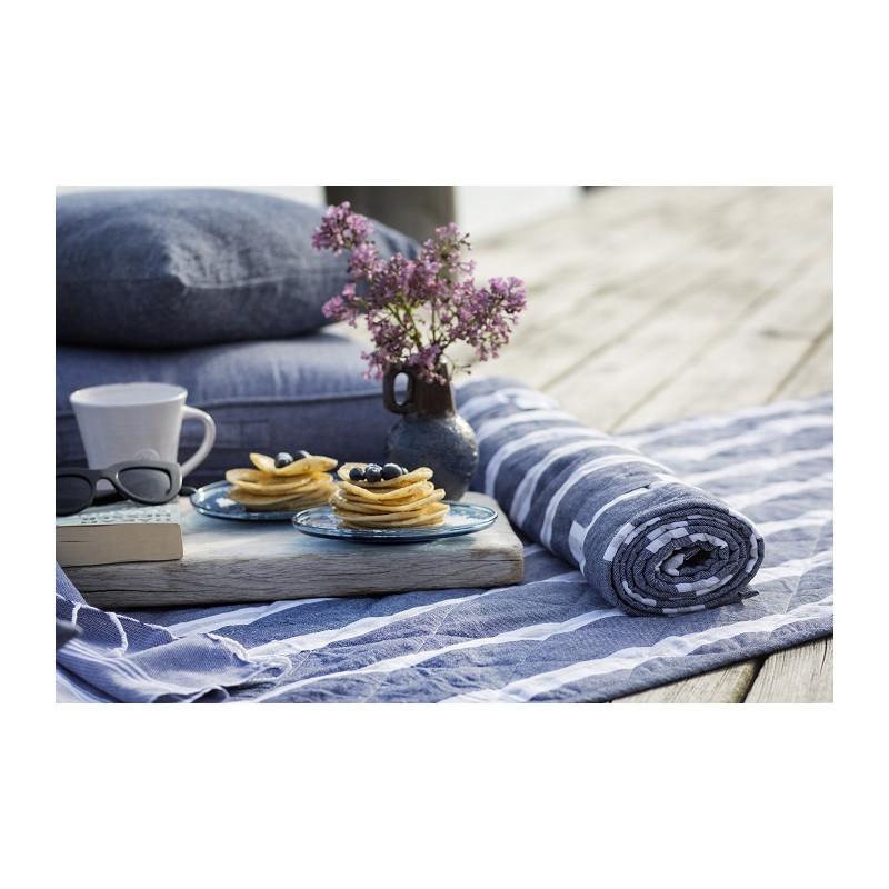 Strandmadrass blå vit randig